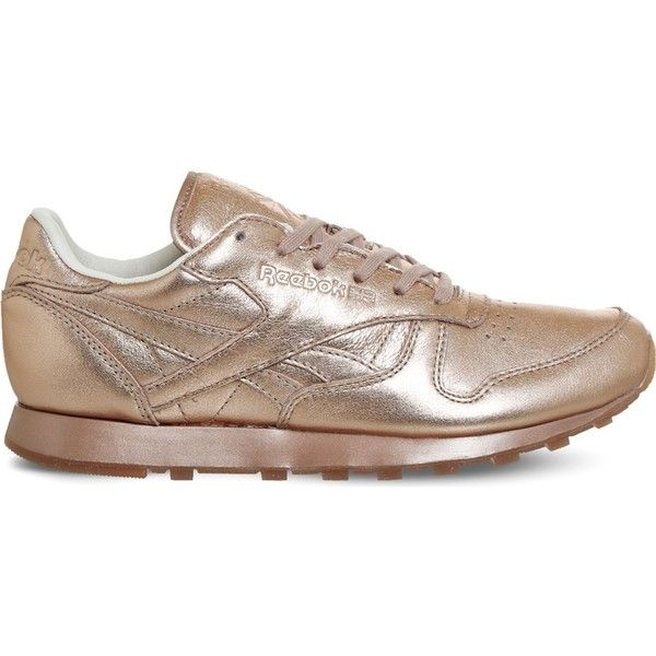 REEBOK Classic metallic-leather trainers ($90) ❤ liked on Polyvore featuring shoes, sneakers, metallic shoes, leather upper shoes, round toe sneakers, round cap and metallic sneakers