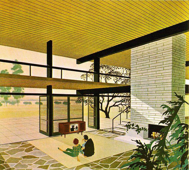 Midcentury Retro Style Modern Architectural Vintage: Mid-Century Modern Architecture Drawing