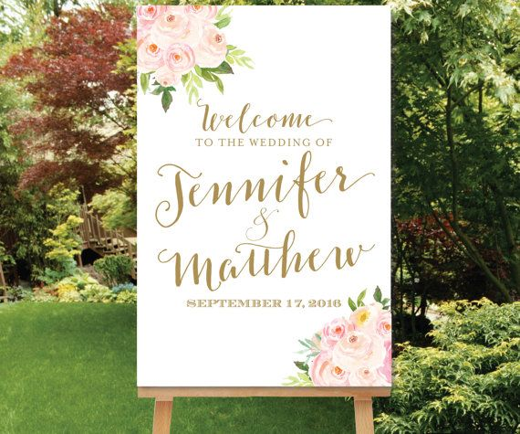 Wedding Welcome Sign Blush Gold Watercolor by SimplyFetchingPaper