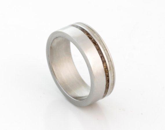 DINOSAUR BONE Ring with antler ring titanium wedding band mens wedding band woman ring man jewelry fossil ring