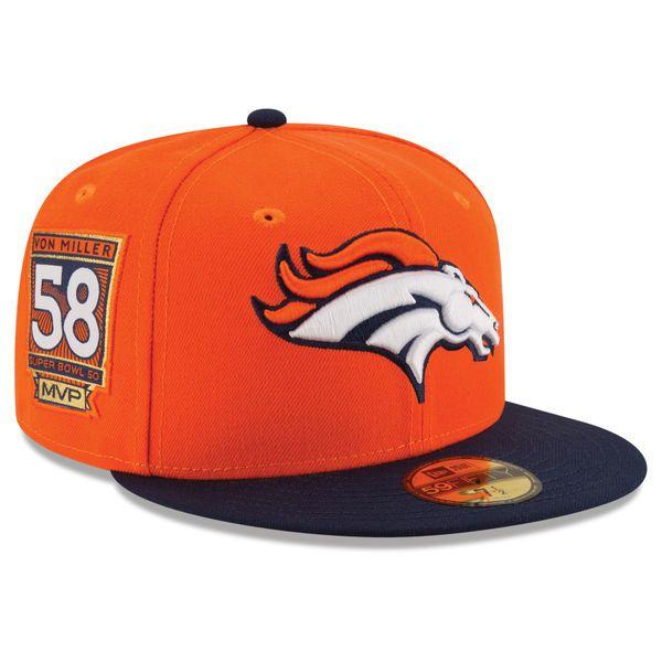 Von Miller Denver Broncos New Era Super Bowl 50 MVP 59FIFTY Fitted Hat - Orange/Navy - $35.99