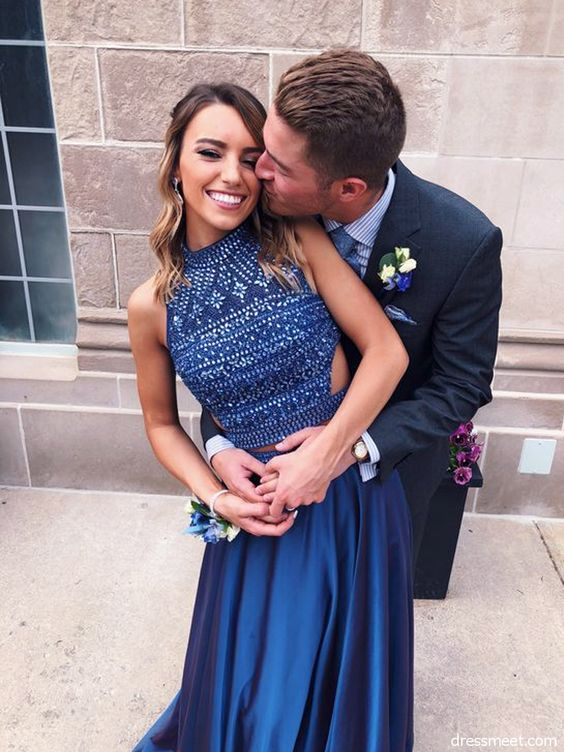Elegant A Line Halter Cross Back Navy Blue Long Prom Dresses with Beading LP582