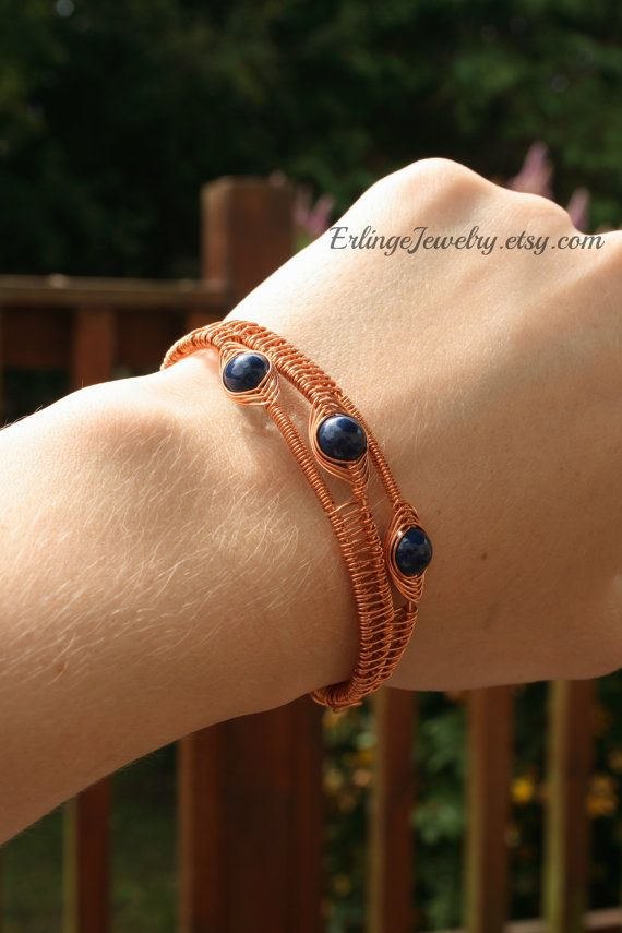 Copper Wire Wrapped Cuff Bracelet with Egyptian by ErlingeJewelry, €18.00