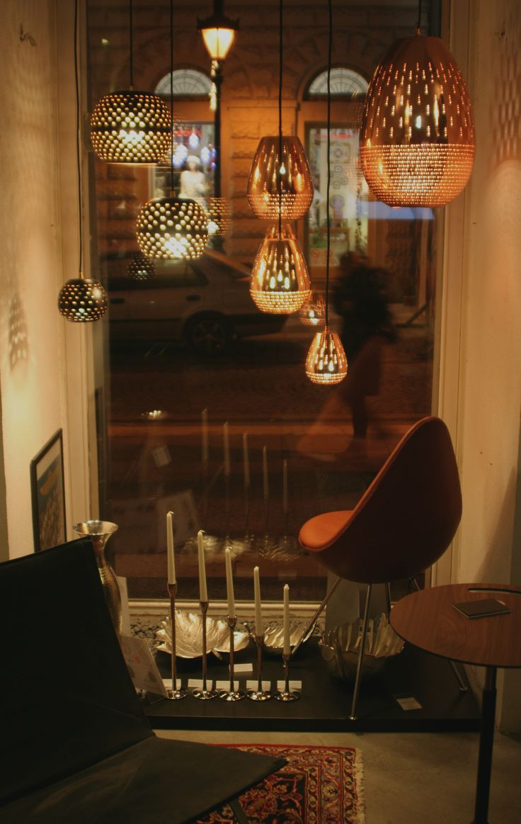 Danish Interior Design front window with Hedemann pendants  Danish Interior Design Budapest