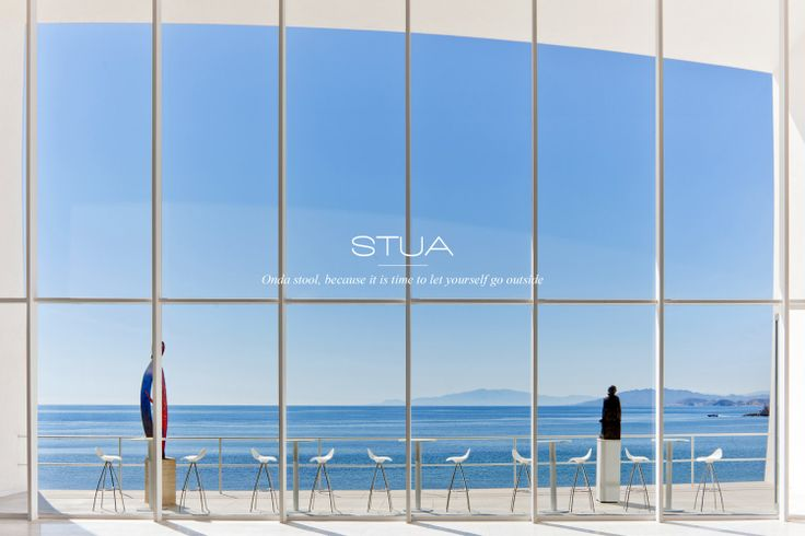 This dream-image of Aguilas Convention center with STUA outdoor Onda stools makes you dream of more time outside.