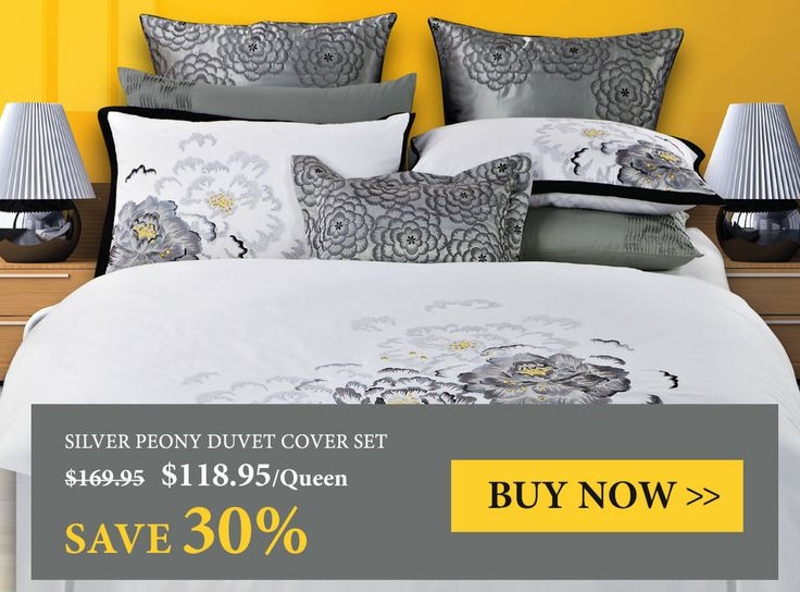 Silver Peony Bedding Collection