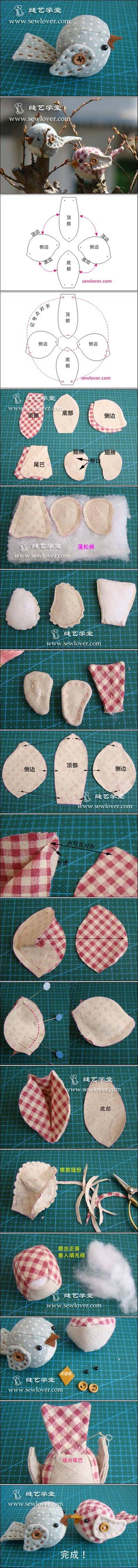 Fabric Bird - Schnittmuster, bebilderte Anleitung (chinesisch)