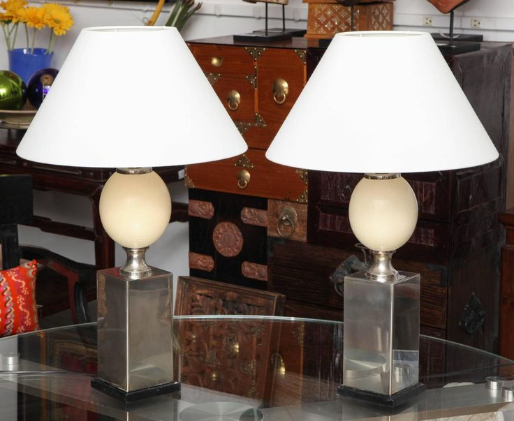 Pair of Faux Ostrich Egg Table Lamps 3