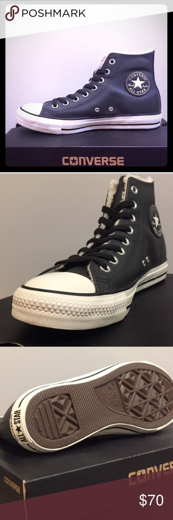 ON SALE NOW Brand New Leather Converse Black leather unisex sized. In the box Converse Shoes Athletic Shoes