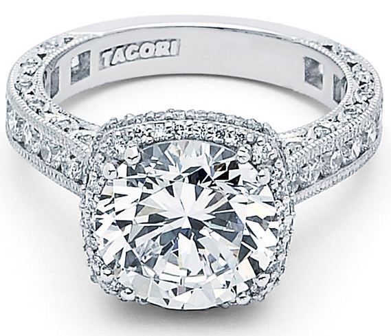 #Tacori engagement ring with cushion halo. Love it!