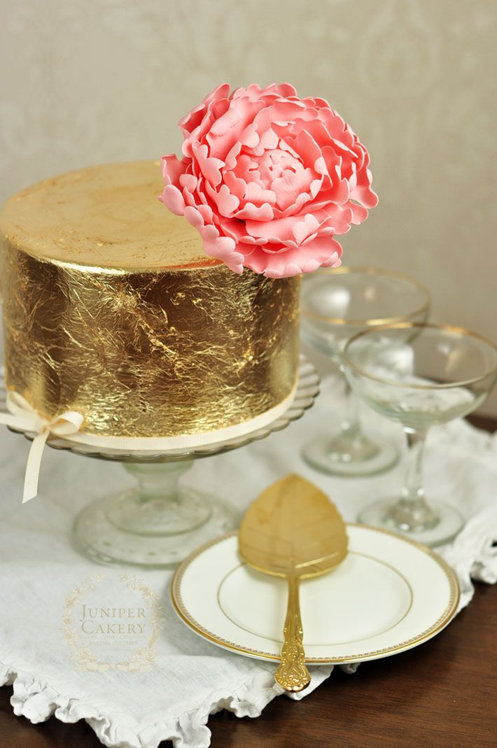 How to decorate a cake with gold leaf tutorial by Juniper Cakery