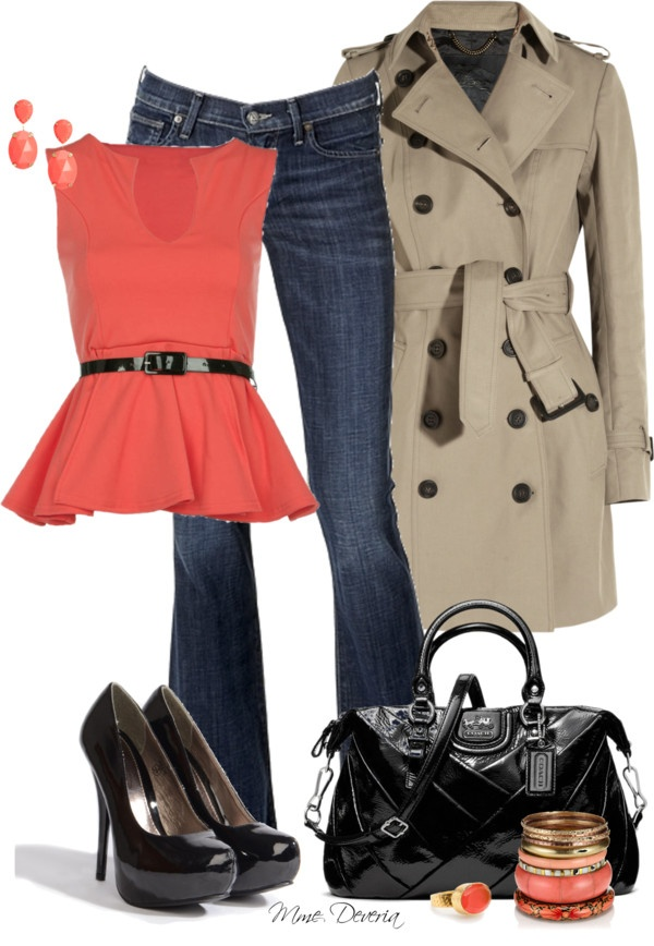 """""""Coral peplum top"""" by madamedeveria on Polyvore"""