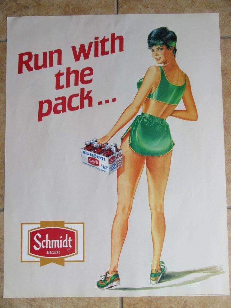 Vintage Schmidt Beer Spreiter Pinup Sign Poster