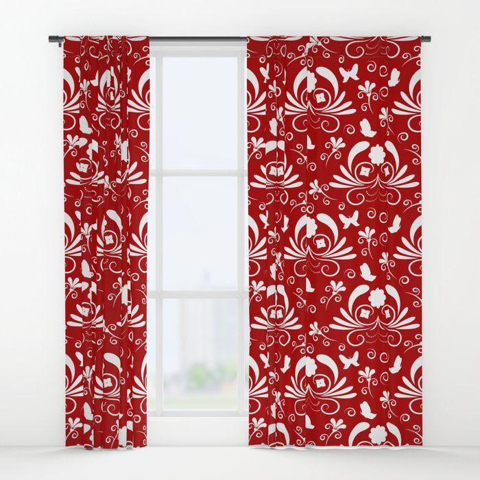 Abstract floral red, white Window Curtains