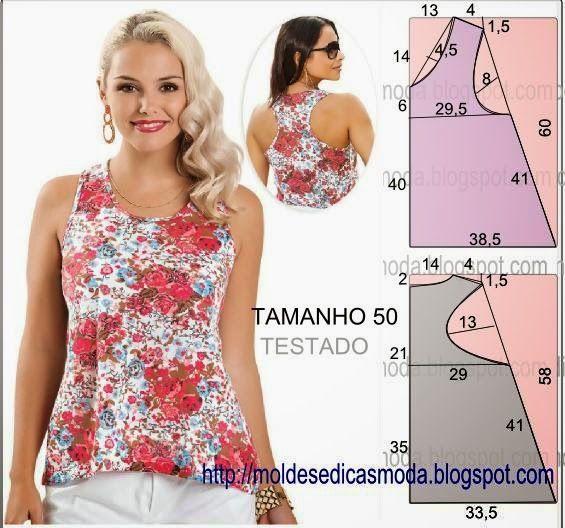 PASSO A PASSO MOLDE DE BLUSA O molde de blusa encontra-se no tamanho 50. Nota: A ilustração do molde blusa não tem valor de costura. Corte um retângulo de