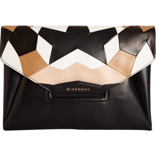 Givenchy Antigona Envelope Clutch ($2,185) ❤ liked on Polyvore featuring bags, handbags, clutches, givenchy, purses, black envelope clutch, envelope clutch bag, accessories handbags, black purse and white clutches