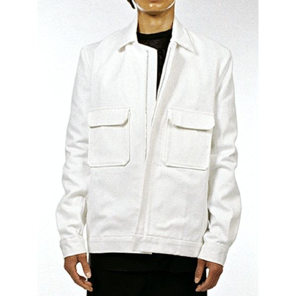 Jacket viktor ($309) ❤ liked on Polyvore featuring men's fashion, men's clothing, men's outerwear, men's jackets, mens white jean jacket, mens leather sleeve denim jacket, mens white denim jacket, mens white jacket and mens short sleeve jacket