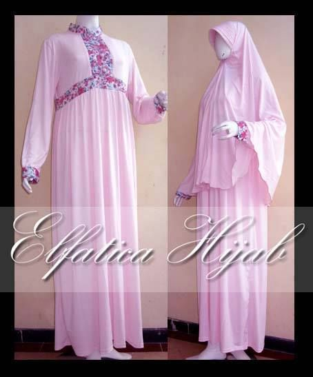 Gamis Jersey set Khimar Dusty Pink