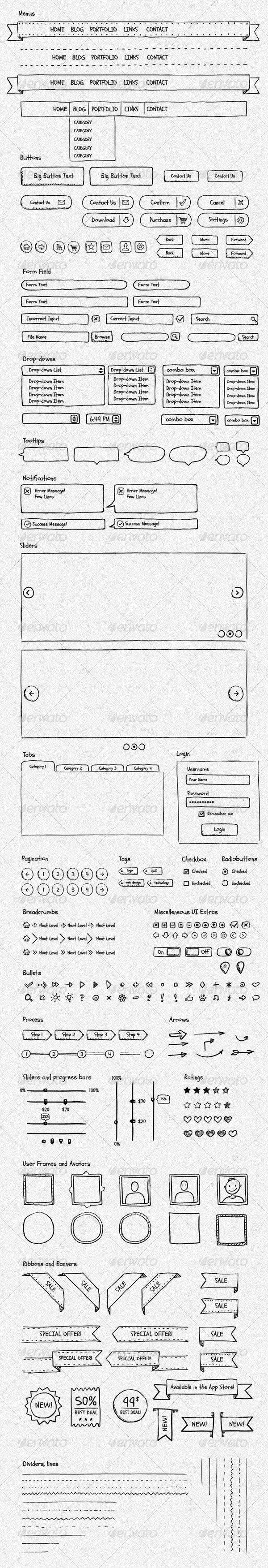 UI Design. Sketch wireframing illustration.