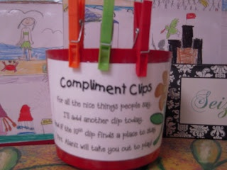 Comment clips - when students get a compliment from another teacher the student helper of the day gets to add a clip to the bucket. When they have 10 clips they get an extra 10 minutes of play