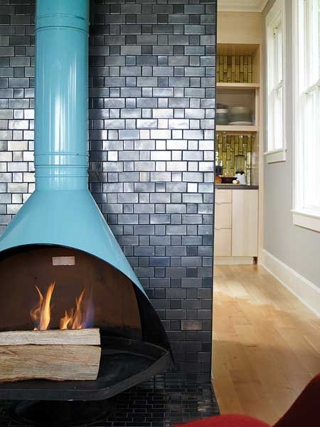 mid century modern fireplace - I like the tiled wall                                                                                                                                                      More