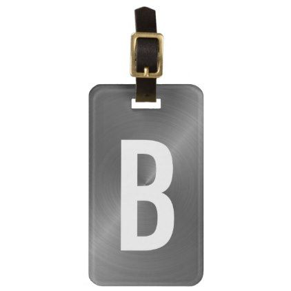 Gray Brushed Metallic Monogram Initial Bag Tag - brushed metal gifts cool unique special gift idea
