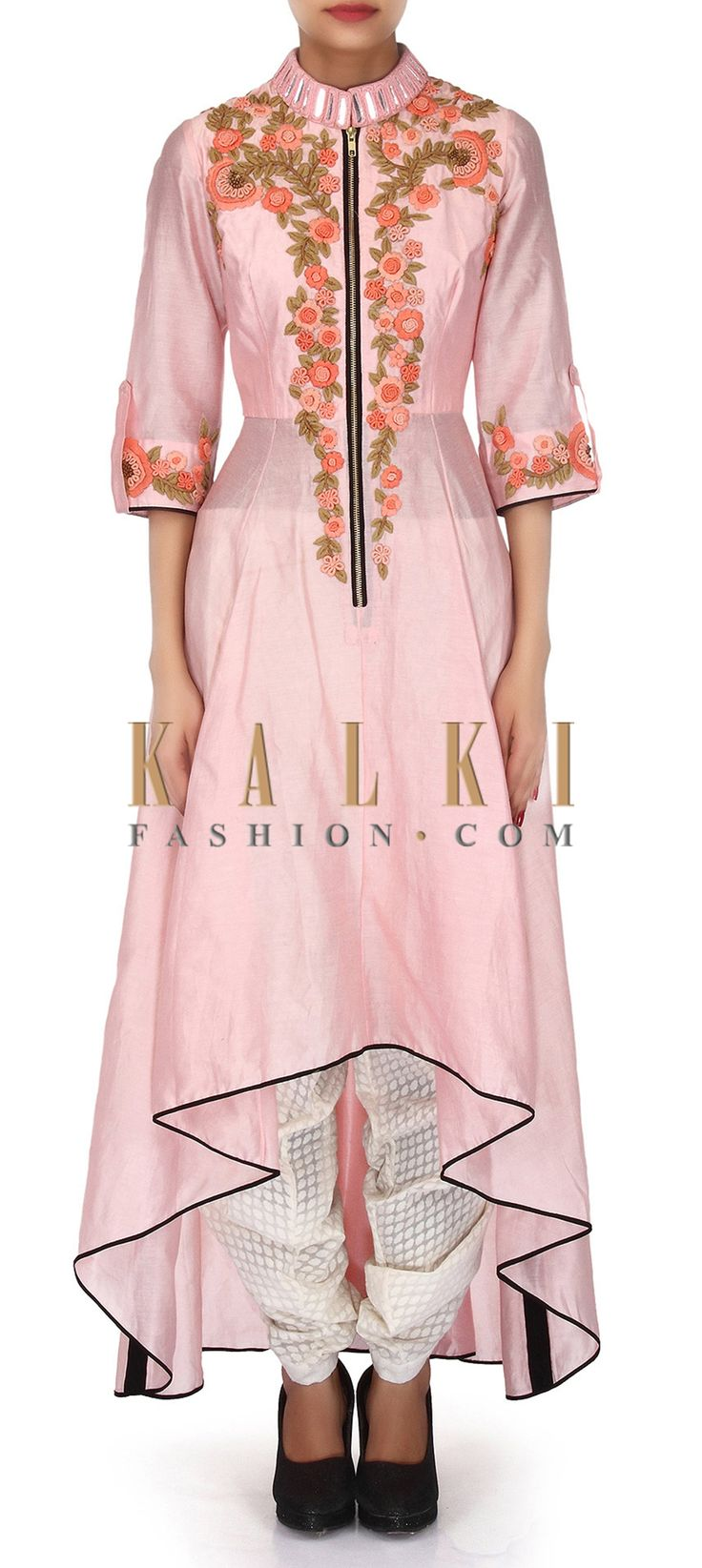 Buy Online from the link below. We ship worldwide (Free Shipping over US$100). Product SKU - 304480. Product Link - http://www.kalkifashion.com/baby-pink-suit-adorn-in-thread-and-mirror-embroidery-only-on-kalki.html