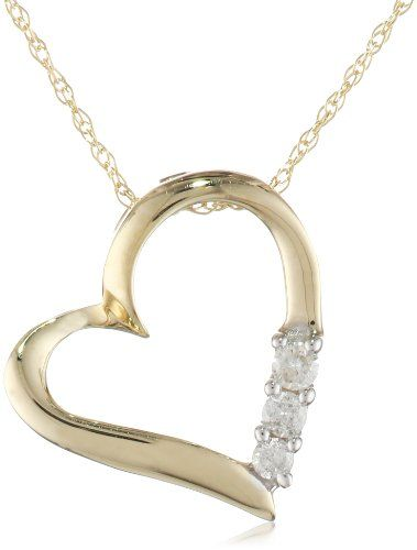 14 best love heart necklaces images on pinterest heart necklaces 10k yellow gold 3 stone diamond heart pendant necklace 110 cttw mozeypictures Images
