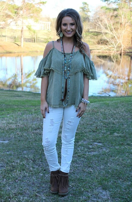 Tempt the Heart Cold Shoulder Top with Ruffle Sleeves in Olive – Giddy Up Glamour Boutique