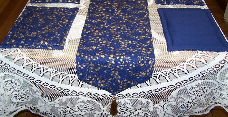 French Navy Table Runner and Place-mats Set