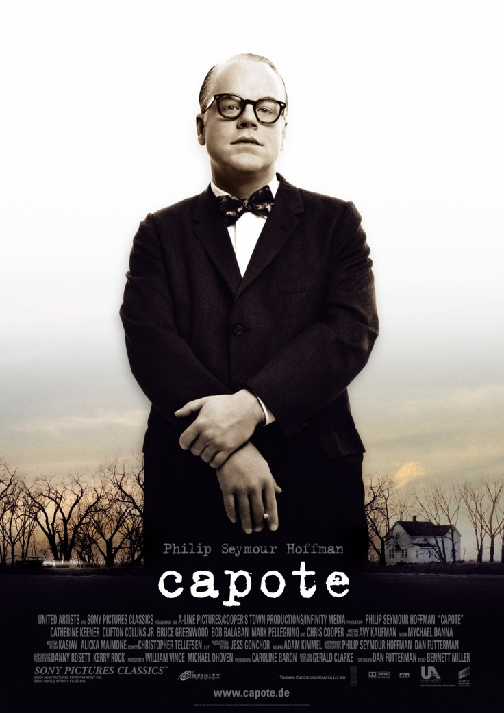 CAPOTE (2005): In 1959, Truman Capote learns of the murder of a Kansas family and decides to write a book about the case. While researching for his novel In Cold Blood, Capote forms a relationship with one of the killers, Perry Smith, who is on death row. Hoffman is fantastic, still don't know how I feel about Capote after seeing it!