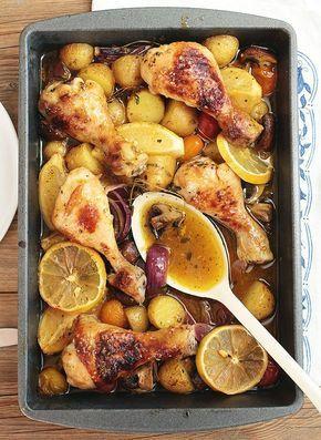 Sommerküche: Zitronenhähnchen mit Kartoffeln, Champginons und Tomaten