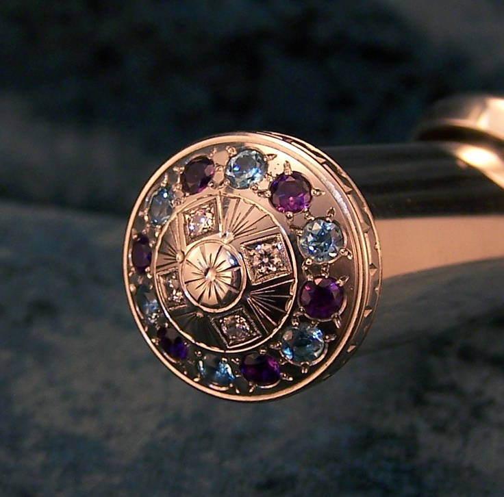 Jeweled flute crown. Made with Purple Amethyst, Aquamarine and white CZ's.