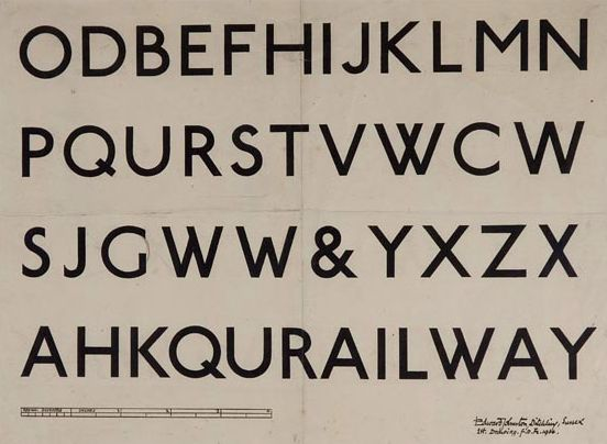 E Johnston, Railway font for London Underground, 1916