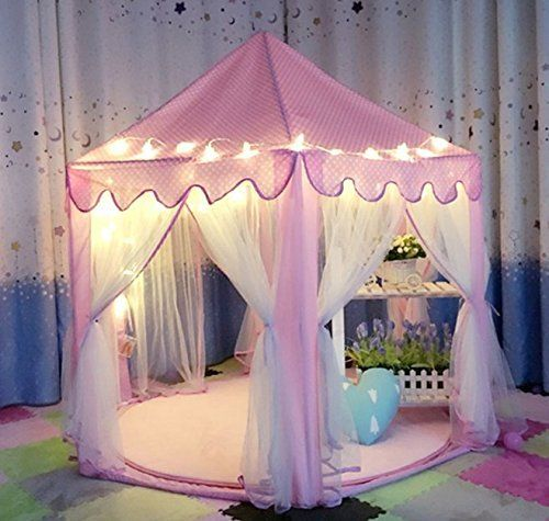 Amazing AuTop Large Indoor and Outdoor Kids Play House Pink Hexagon Princess Castle Kids Play Tent Child Play Tent