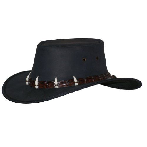 "This is a very similar to the movie hat Paul Hogan wears in the CROCODILE DUNDEE movies.  The movie hat has a lighter colored band, while this version has a brown band.  I'm still searching for the ""perfect match"", but this hat is very nice. Barmah Hats Outback Crocodile Leather Hat 1033BL / 1033BR - Black - Xlarge Barmah Hats,http://www.amazon.com/dp/B006PV35JG/ref=cm_sw_r_pi_dp_mKFOrb23719A4382"