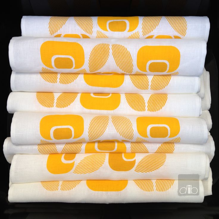Tolva Blom - Yellow on Yellow Printed Linen - Tea Towels - Napkins - Table Runners