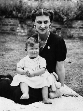 Princess Marina of Kent, now a widow, with her youngest child, Prince Michael, named after Grand Duke Michael of Russia, youngest brother of Czar Nicholas II.  Marina's mother was a Russian grand duchess and Prince Michael developed a keen interest in his Russian heritage.  He even contributed blood samples to help positively identify the remains of the last czar and his family.