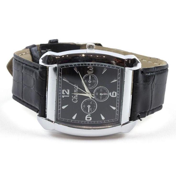 Men Classic Square Watch Quartz Movement Adjustable Strap PU Leather NEW NWT #Simi #Casual