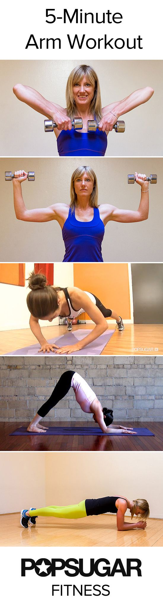 Five-minute arm toning #workout plan! All you need is a pair of light dumbbells and a mat.