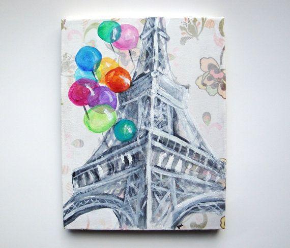 Eiffel tower painting paris acrylic painting paris france for Art decoration france