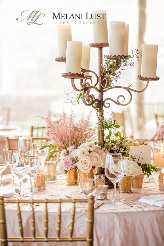 Romantic Statement Wedding Floral Centerpiece With Candelabra, Soft Pinks,  Blush, Creams And Gold