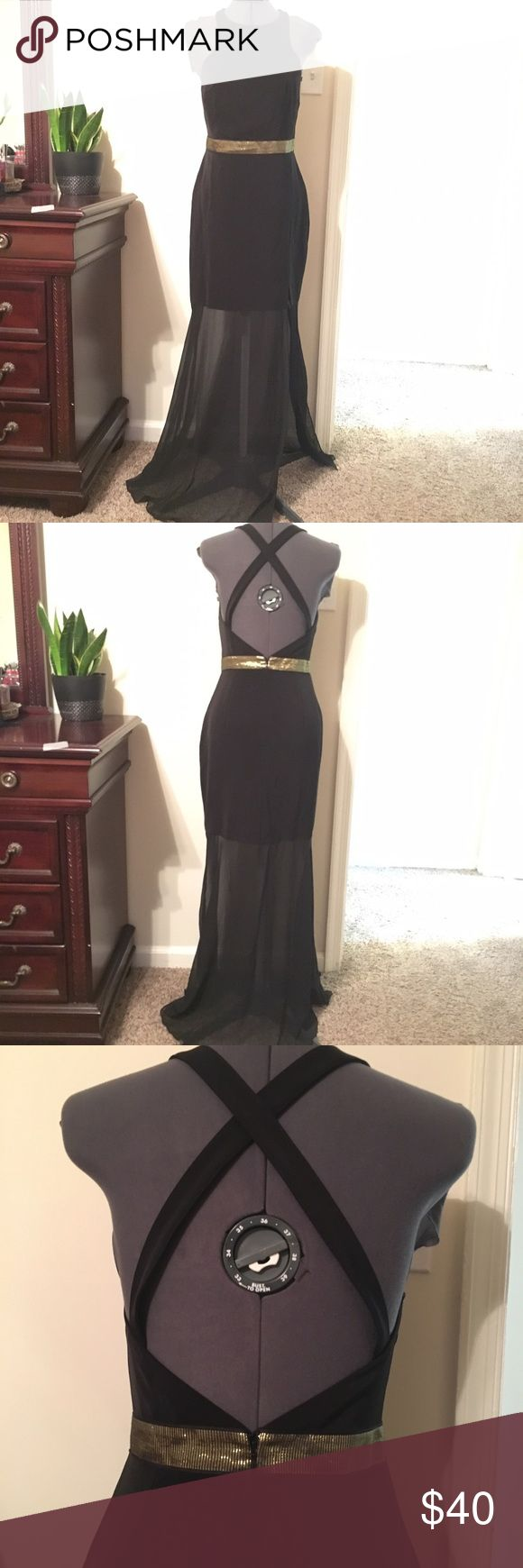 Express black high neck dress Open back with cross cross straps, high neck, gold waistband, sheer skirt with side slit. Economic condition. Size 8 Express Dresses Maxi