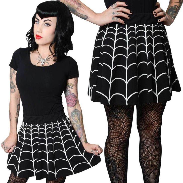 Kreepsville 666 White Web Skater Skirt Gothic Goth