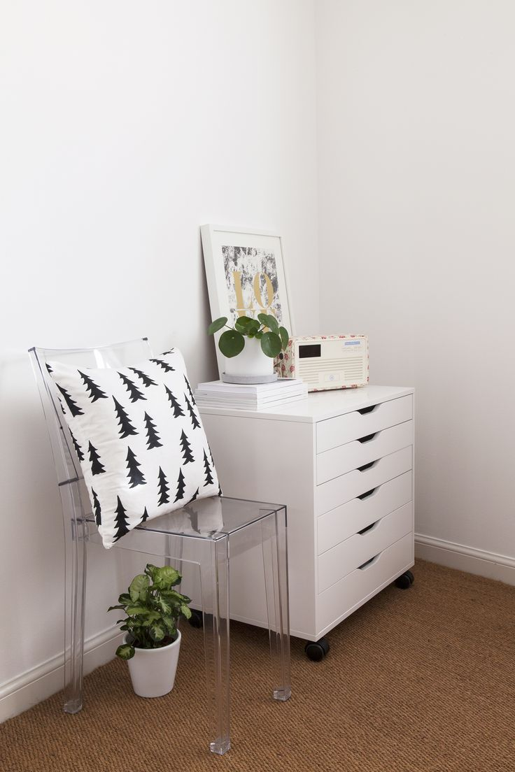 White minimal office with IKEA drawers