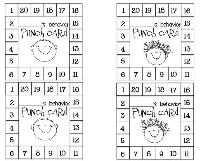 Punch Card Pdf Google Drive Behavior Punch Cards Punch Cards Behavior Cards