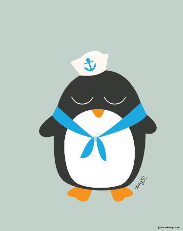 Baby Penguin In Sailor Outfit Poster : Modern Animal Illustration Nursery Art Wall Decor Print 8 x 10   INSTANT Digital Download Printable by SealAndFriends on Etsy https://www.etsy.com/listing/165857391/baby-penguin-in-sailor-outfit-poster