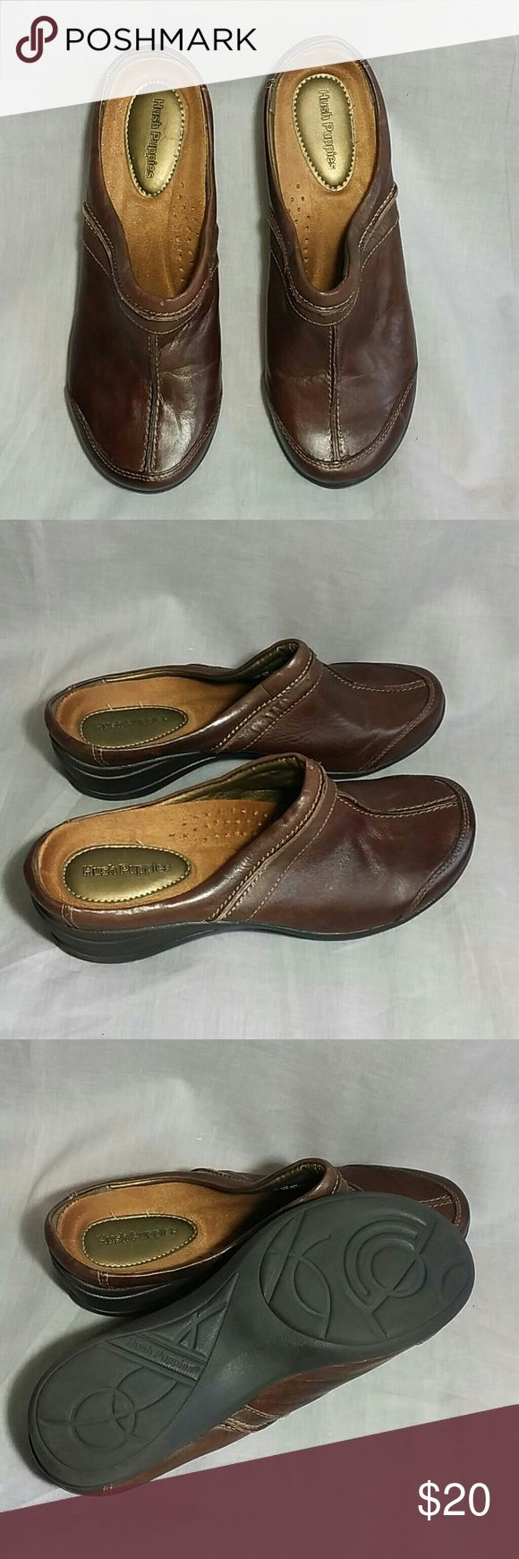 Women's Hush Puppies Clogs Shoes Brown 7 M Leather Item is in a good condition NO PETS AND SMOKE FREE HOME. Hush Puppies Shoes Mules & Clogs