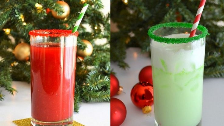 Drink Of The Week - Grinch Spritzer/Rudolph  Punch:  Grinch: 1 part lime sherbert, 1 part sprite, 1 part vodka. Take a lime wedge and rub along rim and then dip in green sugar.   Rudolph Punch: 2 parts cranberry juice, 1 part ginger ale and 1 part vodka  I tried to click on the link and couldn't find the recipe, so I found them somewhere else. fyi...