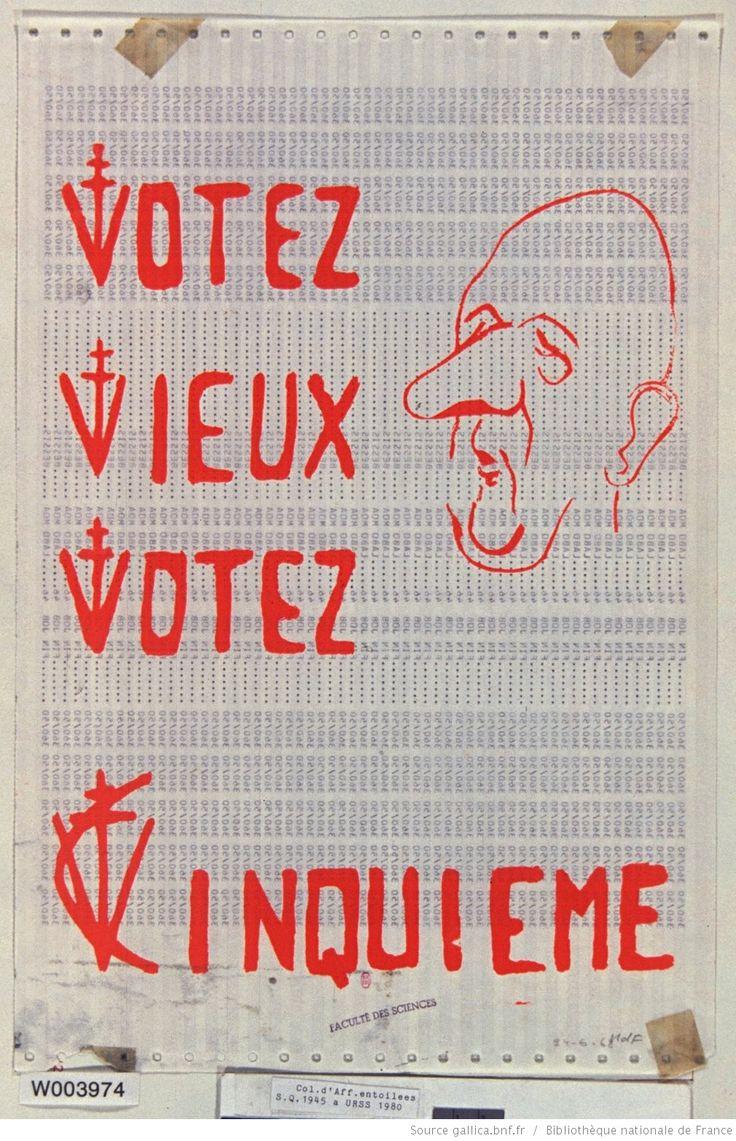 [Mai 1968]. Votez vieux, votez Cinquième. Faculté des Sciences : [affiche] / [non identifié]
